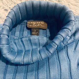 Classiques Entier Sweaters - Classiques Entier Blue Silk ribbed Turtleneck